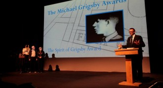 From left to right: Chris and Marion Grigsby prepare to present the first Michael Grigsby Awards as AFU director Jeremy Taylor announces the winners